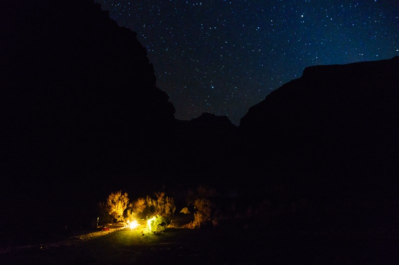 Camping under the stars at Upper Rattlesnake.