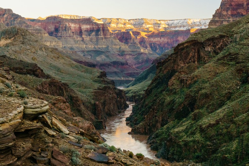 Looking upstream from Deer Creek Falls at the narrowest point in the Grand Canyon.