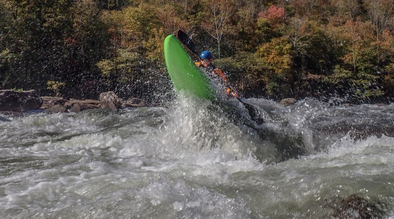 A paddler boofing on the Lower Gauley. Photo Jeff Macklin.