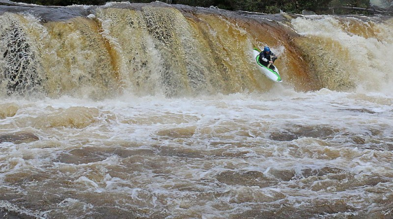 Art Barket paddles High Falls on the Shavers Fork of the Cheat. Photo Abed Borsa.