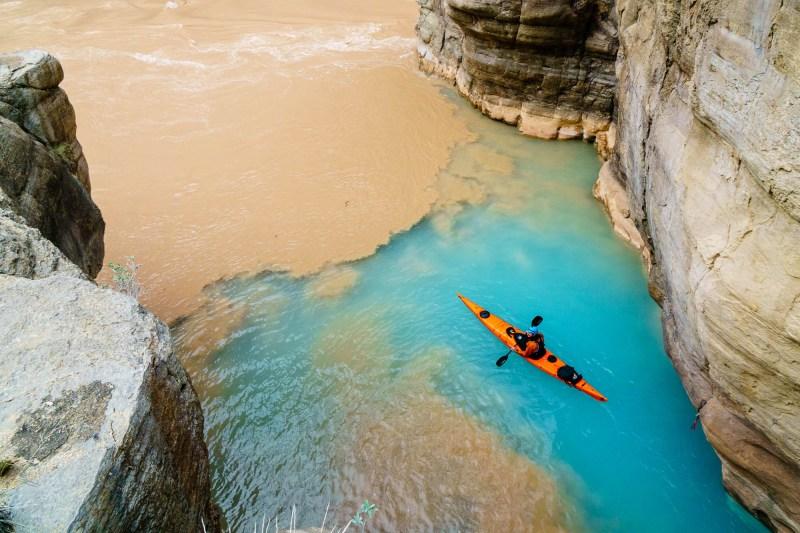 Seth Swallen makes his sea kayak look good at the Havasu / Colorado confluence.