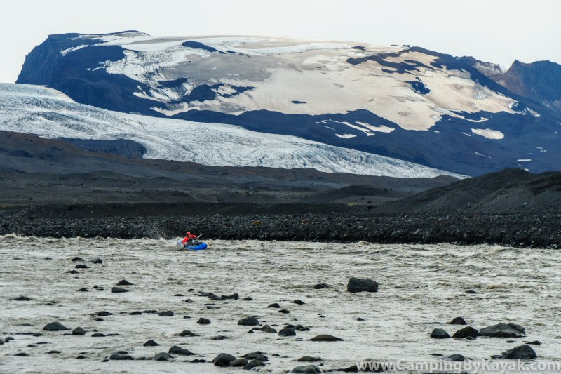 Wally Macfarlane paddling the first rapids of the trip on the edge of the Vatnajökull icecap.