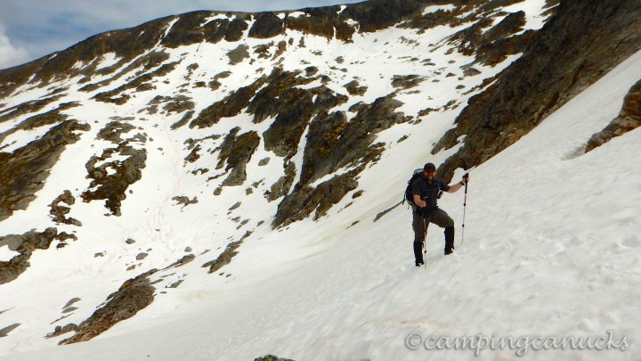 Ascending the snow pack