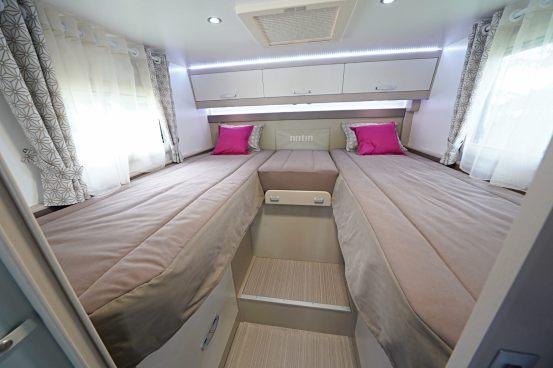 Les couchages 80 x 205 cm ont tout les avantages d'une literie haut de gamme, sommier à lattes et matelas haute densité