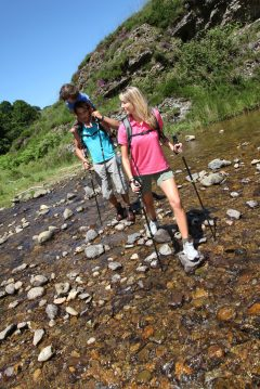 hiking with kids across a small river