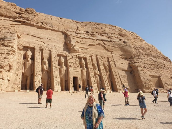 In front of the Nefertari temple at Abu Simbel.