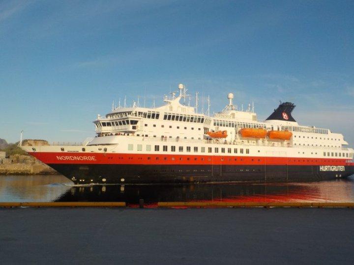 MV Nordenorge, Hurtigruten, in Svolvær, Norway.