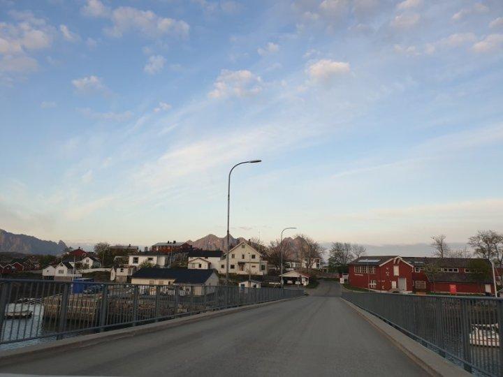 Svolvær neighborhood with the midnight sun norway