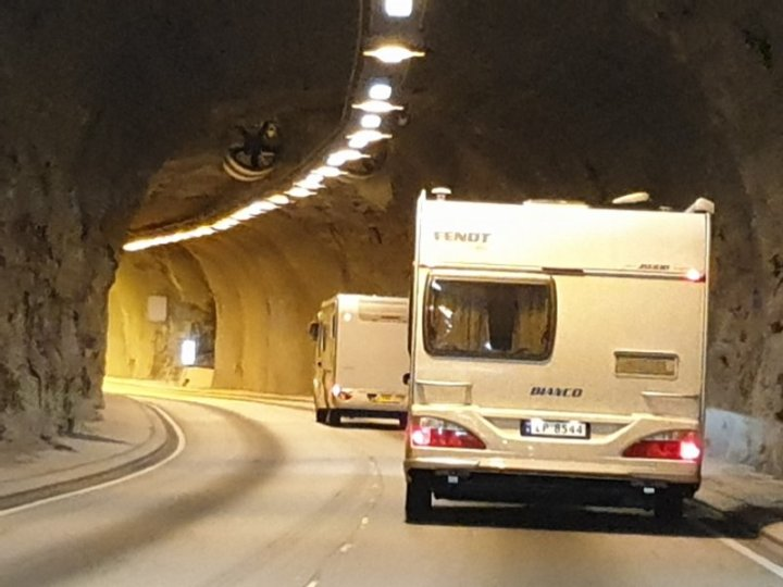 The inside of one of the many tunnels cut through the mountains in Norway.