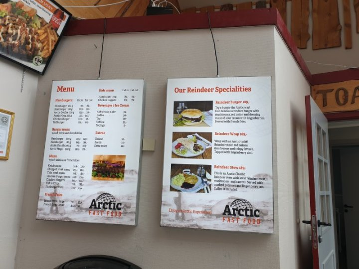 Menu at Arctic Circle Centre Norway
