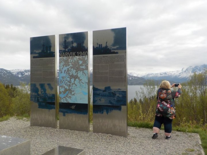 Nicole Anderson at the scenic area of the Narvik World War II memorial Norway