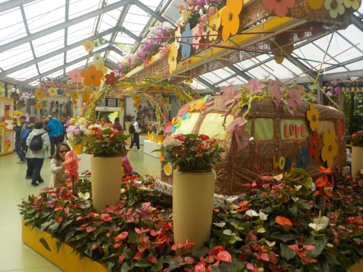 The flower power theme with a love bug van was also to be seen here