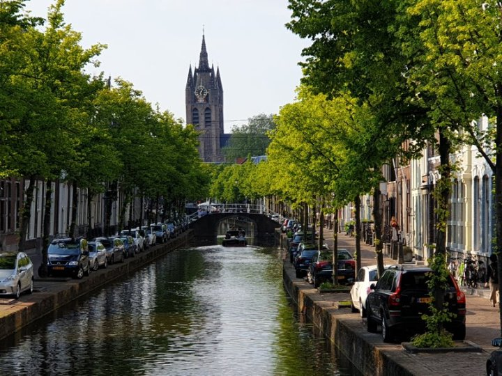 Part of the canal system in the beautiful town of Delft, The Netherlands.