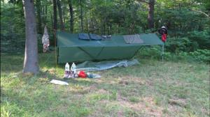 Spacious Backpacking Tarp pitch at Rutherford Shelter