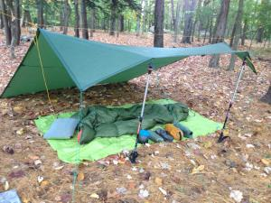 An 8x10 backpacking tarp provides a huge amount of living space and can be set up for a wide variety of conditions.