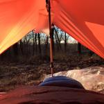 The best part of sleeping under a tarp is the view when you wake up in the morning.