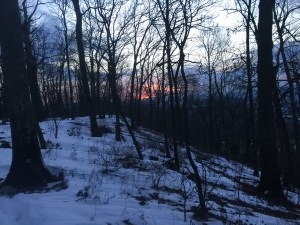 The sun sets beyond a narrowing ridgeline along the AT above Duncanon, PA.