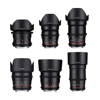 Samyang 6 Piece VDSLR II Cine Lens Set Kit (14/24/35/50/85/135mm) Canon Mount