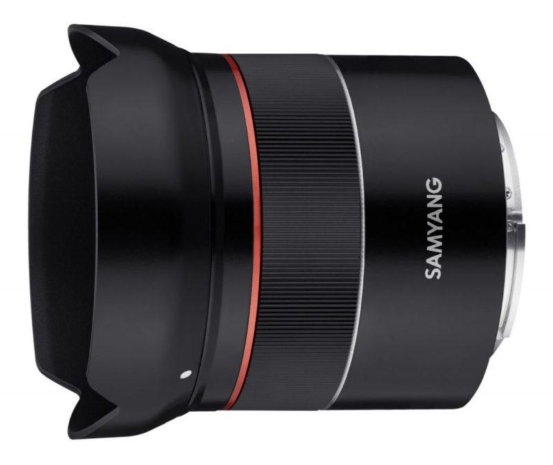 Samyang AF 18mm F2.8 FE Lens side angle with hood scaled