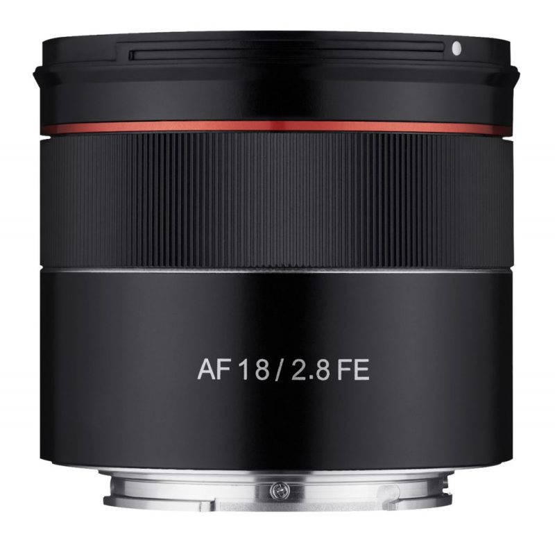 Samyang AF 18mm F2.8 FE Lens side view scaled
