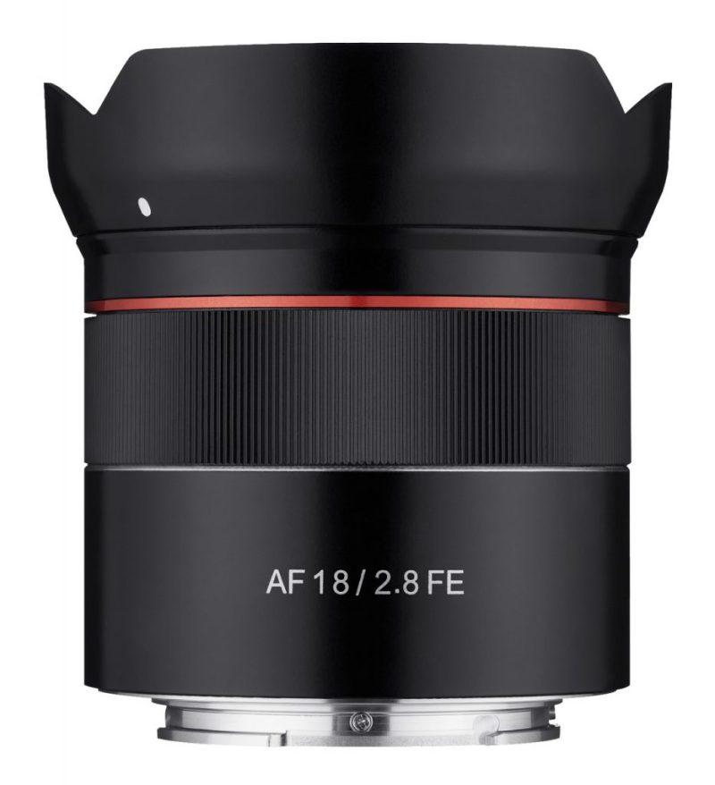 Samyang AF 18mm F2.8 FE Lens side view with hood scaled