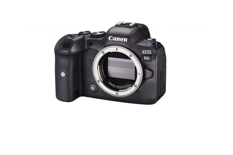 Canon R6 body front slanted camera off