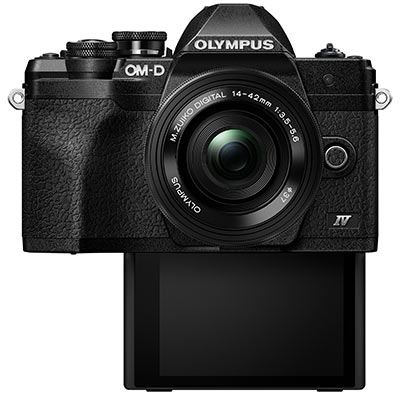 Olympus EM10 IV front with selfie screen down