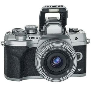 Olympus EM10 IV front with lens and flash up