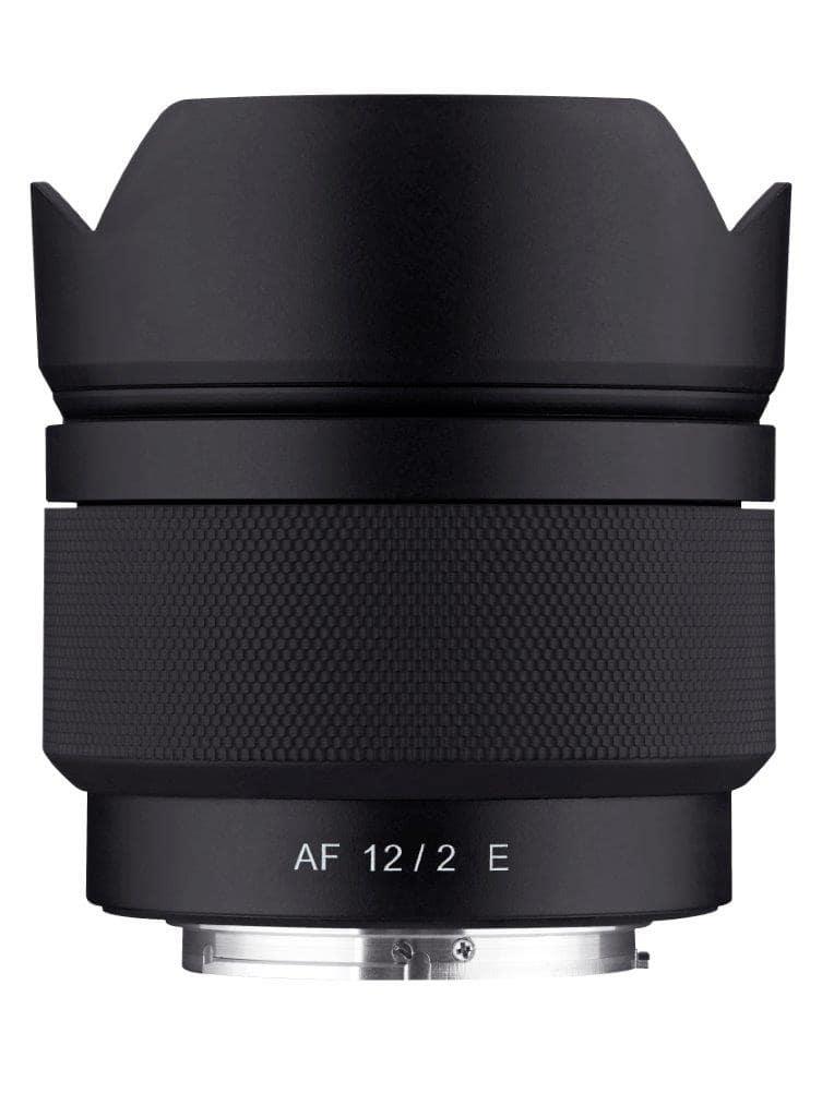 Samyang AF 12mm F2 E top with hood min