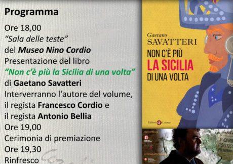 Santa Ninfa. Il premio «Museo Nino Cordio» allo scrittore Gaetano Savatteri