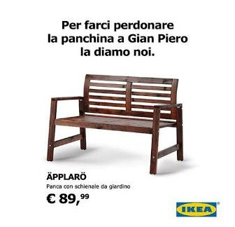 """La provocazione di Ikea: """"Per farci perdonare la panchina a Ventura la diamo noi""""."""