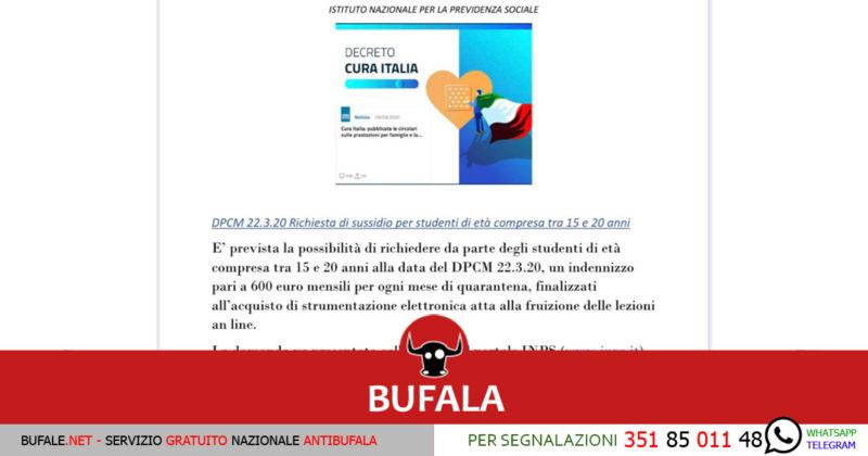 INPS: NESSUN BONUS STUDENTI NEL DECRETO CURA ITALIA