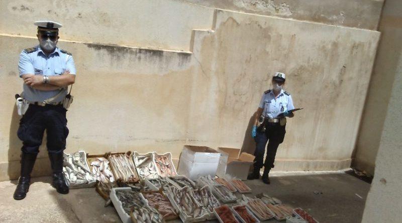 Mazara. Operazione della Polizia Municipale in piazzetta dello Scalo. Sequestrati 122 kg di prodotto ittico ad abusivi