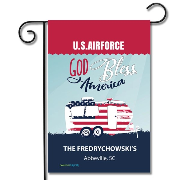 Personalized Military RV Camping Flag God Bless America Travel Trailer