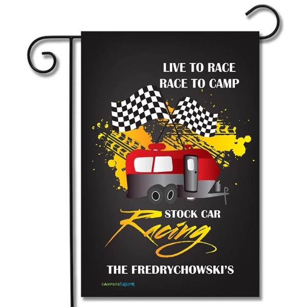 Personalized RV Camping Flag Live To Race Race To Camp Travel Trailer