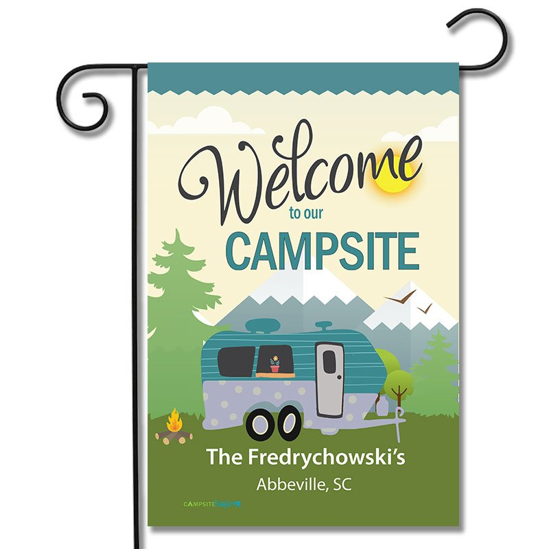 Personalized RV Camping Outdoor Flag Welcome To Our Campsite Travel Trailer