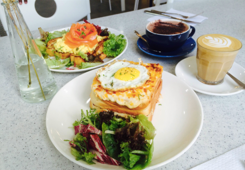 Classic Croque Madame ($19), Triple B ($21)