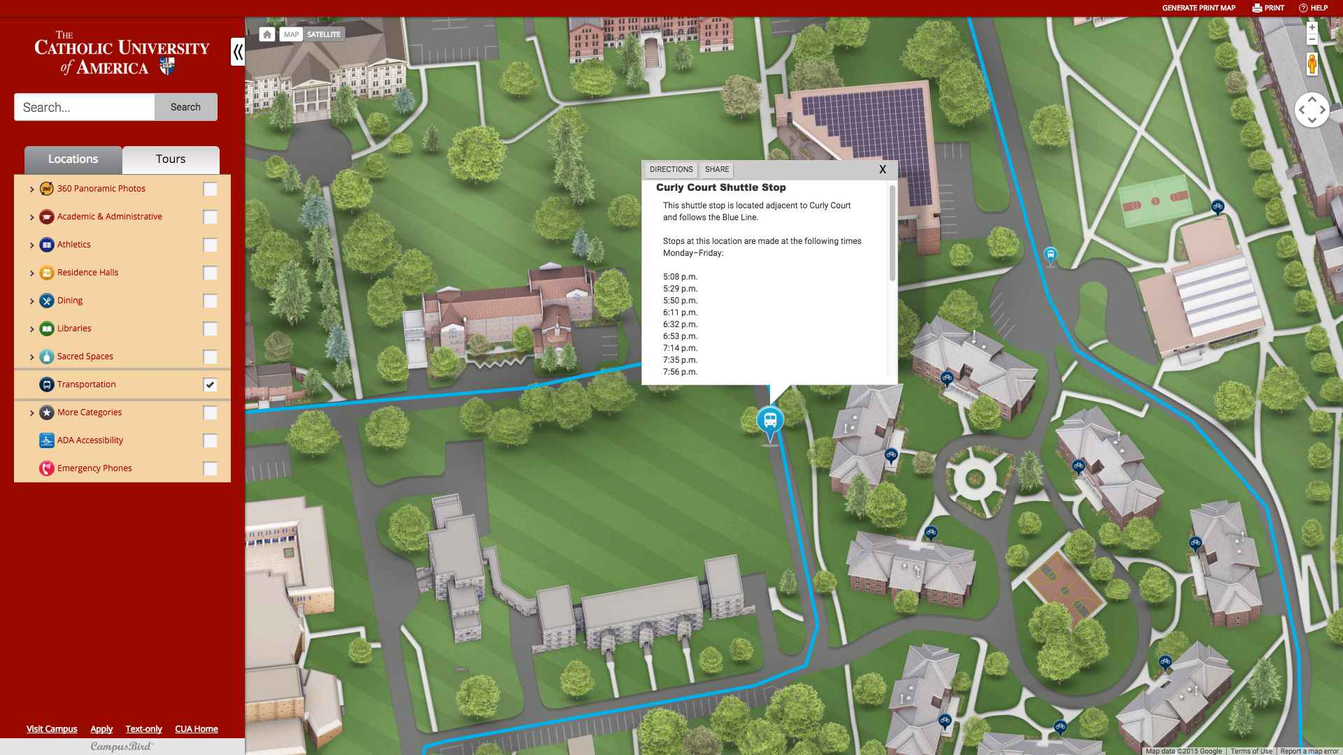 Catholic U of America Looking for a Single Campus Map