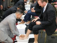 The Feet Washing Ceremony that takes place before the Passover Ceremony.