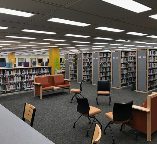 The library in Building 6. Photo by Bailey Perkins