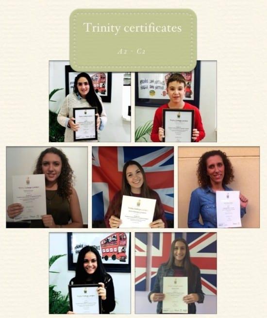 Entrega de certificados Trinity en Campus Ingles, Alhaurin de la Torre