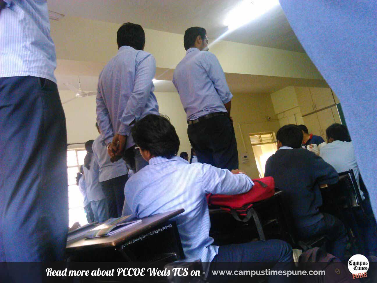 TCS-aptitude-Test-failed-students-punished-in-classroom-PCCOE-Pune