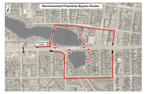 small resolution of pedestrians are encouraged to use the walking bridge across mirror lake northwest of the construction area or the sidewalks along 47 avenue south of the