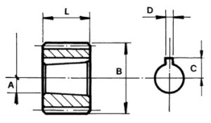 Bucsa canelata DIN 5482