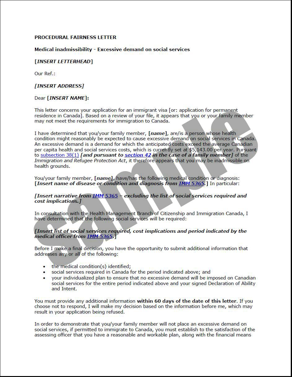 Sample - Procedural Fairness Letter (Excessive Demand)