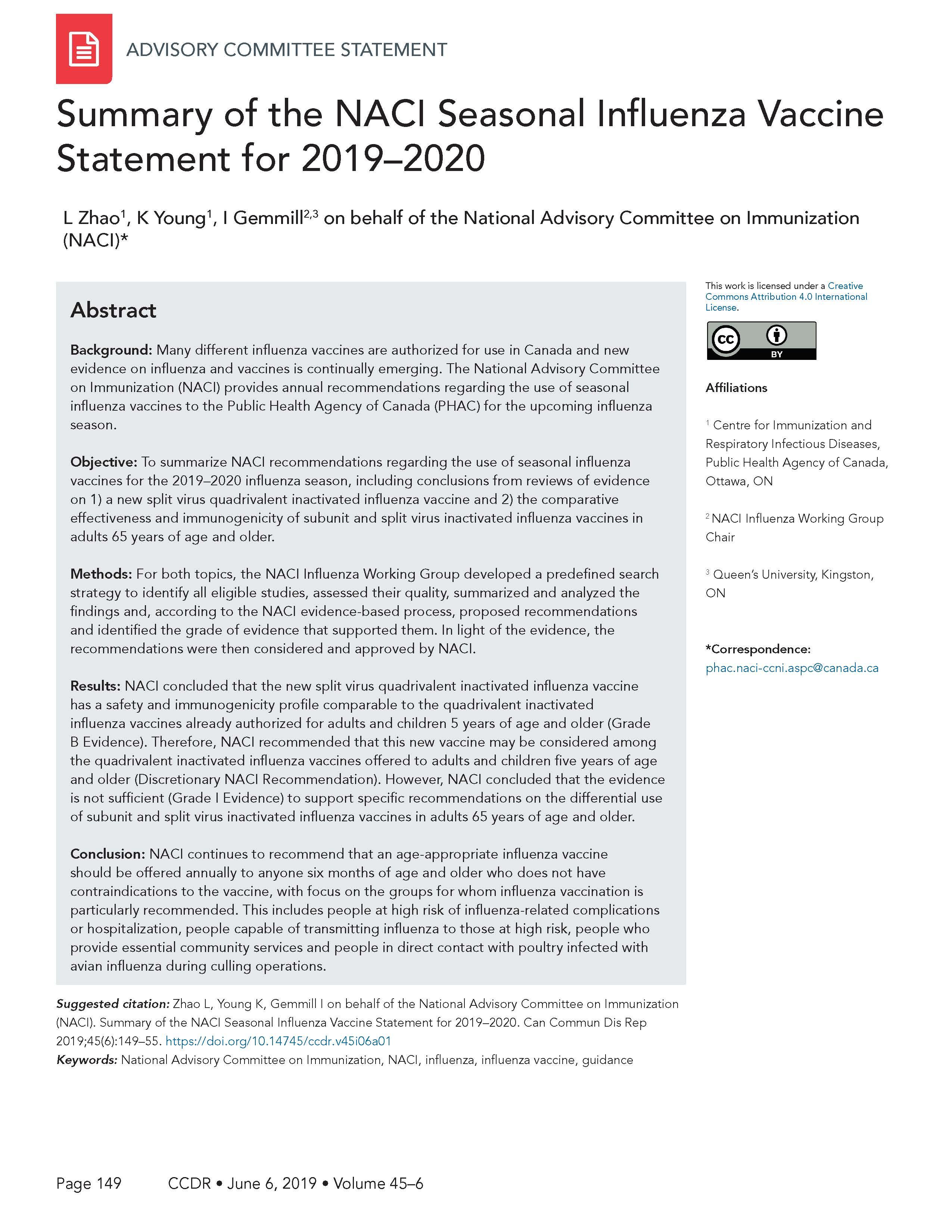 NACI seasonal influenza vaccine statement for 2019–2020, CCDR 45(6 ...