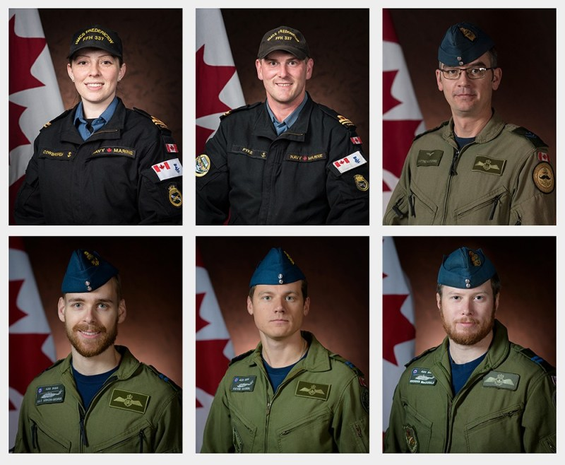 Starting from top left: Sub-Lieutenant Abbigail Cowbrough, a Maritime Systems Engineering Officer; Sub-Lieutenant Matthew Pyke, Naval Warfare Officer; Master Corporal Matthew Cousins, Airborne Electronic Sensor Operator; Captain Maxime Miron-Morin, Air Combat Systems Officer; Captain Kevin Hagen, Pilot; Captain Brenden Ian MacDonald, Pilot.