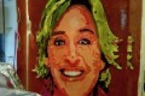 This was a working model of an ice portrait created of Ellen DeGeneres for her birthday