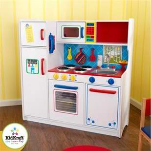 kid craft kitchen cabinet brands 让孩子们立刻着迷 全5分评价 kidkraft 豪华多彩大型儿童厨房套装超低价 豪华多彩大型儿童