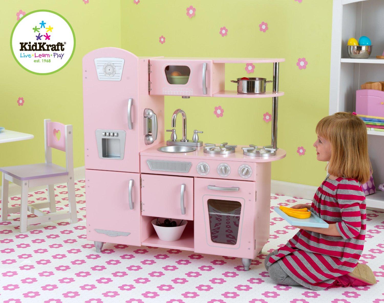 kid craft kitchen colored islands kidkraft 53179 粉红复古款儿童木质厨房玩具套装164 99元 原价215